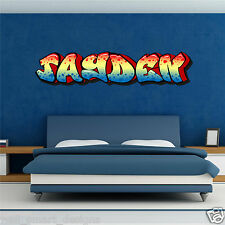 FULL COLOUR PERSONALISED GRAFFITI NAME WALL ART STICKERS GIRLS BOYS BEDROOM