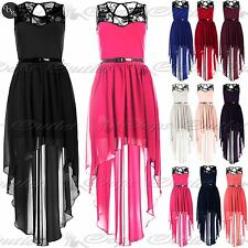Womens Lace Chiffon Ladies High Low Dip Hem Assymetric Belted Mixi Midi Dress