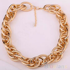 Fashion Jewelry Gold Plated Chunky Chain Necklace Intertwining Bib Necklace Gift