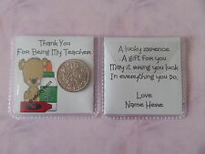 Personalised Lucky Sixpence Thank You For Being My Teacher Gift (L13) Bear