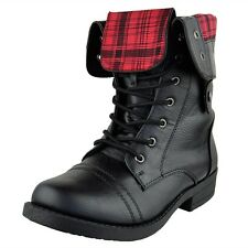 Women's Lace Up Ankle Boots Plaid Fold Over Cuff Combat Shoes Black Size 5.5-10