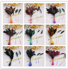 100 PCS MIX COLOR LOOSE STRIPPED COQUE ROOSTER FEATHERS