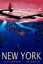 TWA Trans World Airlines Constellation New York Retro Travel Poster-3 sizes-056a