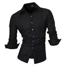 Jeansian Mens Dress Casual Shirts Tops Business Formal Slim 4 Color 5 Sizes Z008