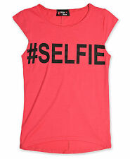Girls Hashtag # Selfie Top Kids Coral Pink T Shirt Brand New Age 7 - 13 Years