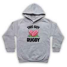 THIS GUY LOVES RUGBY UNION LEAGUE FUNNY HUMOROUS COOL KIDS BOYS HOODIE HOODY