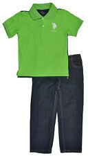 US Polo Assn Toddler Boys Green Polo & Denim Pant Set Size 2T 3T 4T $39