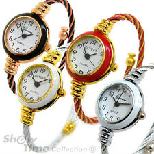2Tone Cable Band Small Size Geneva Bangle Wrist Watch for Women