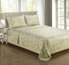 Luxe Collection Paisley Microfiber Gold Silver Sheet Set Sheets
