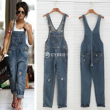 Womens Ladies Baggy Denim Jeans Full Length Pinafore Dungaree Overall Jumpsuit D