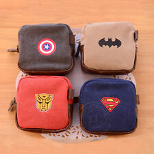 Square Coin Purse Canvas bag Captain America Superman Batman Transformers Image