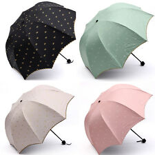 good quality sun rain folding umbrella womens anti uv parasol lace bowknot GQS