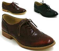 Women Brogues Lace Up Smart Work Formal Casual Shoes Size US 5 6 7 8 9 10
