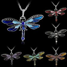 Fashion Retro Silver Crystal Rhinestone Dragonfly Charms Pendant Necklace Chain