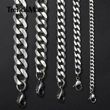 CUSTOMIZE Sz Silver Tone Curb Link Stainless Steel Necklace Boy Mens Chain
