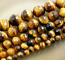"Natural Faceted Yellow Tiger Eye Round Gemstone Beads 15"" 4,6,8,10,12,14mm"