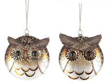 EX21907 One Feathered Glittered Glass Owl Ornament Woods Bird Christmas Holiday