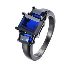 Jewelry Ring Sz6 to10 Blue Sapphire Lady 10Kt  Black Gold Filled Engagement Gift