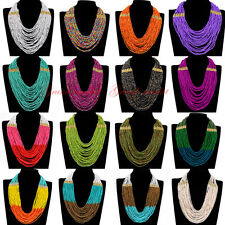 Fashion Handmade Resin Seed Beads Cluster Choker Statement Pendant Bib Necklace