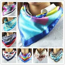 Telecom Stewardess Satin Square Scarf Scarves Bandanas Head Wrap Silk Shawl