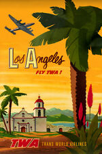 TWA Trans World Airlines Constellation Los Angeles Travel Poster-Art Print 068a