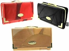WOMENS LADIES REAL PATCH LEATHER CREDIT CARD COIN PURSE WALLET RED BLACK TAN