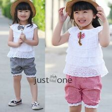 Cotton Ruffle Childs Girls Falbala Top Puff Pant Summer Clothing Sets Sleeveless