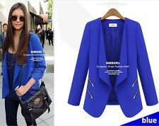 Chic Women No Button Zip Detail Slim Suit Jacket Blazer Suits Coat