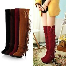 NEW Women's Tassels Shoes Lace Up Stiletto High Heels Buckle Over the Knee Boots