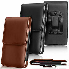 Premium PU Leather Pouch Belt Holster Flip Case Cover Holder For Various Mobiles