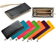 Leather Stone Pattern Long Clutch Purse Wallet Pouch with Wrist Strap