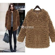 2014 New Women Ladies Faux Fur Fleece Winter Warm Jacket Zip Coat Outwear