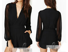 Sexy Black Womens Mesh Sleeve Overall Jumpsuit Playsuits Rompers AU SELLER p047