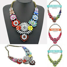 Fashion Women Jewelry Crystal Flower Bib Choker Chain Statement Pendant Necklace