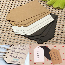 100pcs Label Paper Gifts Hang Card Price Blank Karft Luggage Wedding Party Tag
