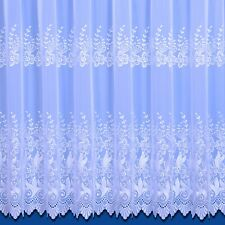 VIENNA TOP QUALITY EMBROIDERED WOVEN VOILE NET CURTAIN IN WHITE OVERLOCKED SIDES
