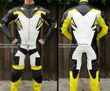 2pc Viper Motorcycle Race Racing Street Riding Leather Track Suit Yellow GPArmor