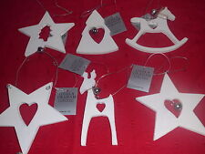 Gisela Graham Christmas White Wooden Decoration  & bell 6 designs you choose NEW