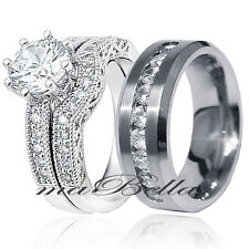 3 Pcs His Stainless Steel Hers .925 Sterling Silver AAA CZ Wedding Ring Band Set