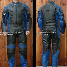 2pc Thunder Motorcycle Race Racing Street Riding Leather Track Suit Blue Armor