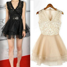 New Sexy Women Casual Lace Sleeveless Party Evening Cocktail Short Mini Dress