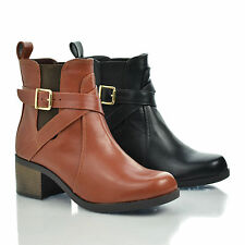 Lawler Tan Round Toe Strappy Buckle Elastic Ankle Block Stacked Heel Bootie