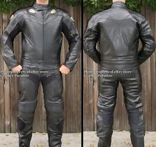 2pc Viper Downhill Skating Skateboarding Street Luge Leather Suit Black GP Armor