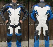 2pc Viper Motorcycle Race Racing Street Riding Leather Track Suit Blue GP Armor