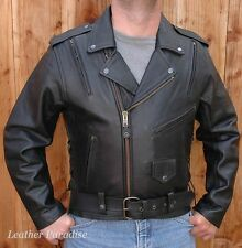 Heavy Black Naked Cowhide Leather Motorcycle Biker Riding Jacket Coat All Sizes