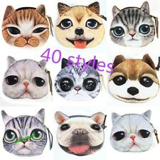 New Kids Cute Cat Dog Face Zipper Case Coin Womens Purse Wallet Makeup Bag Pouch