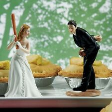 Baseball Bride And Groom Funny Wedding Cake Topper WITH Custom Hair Colors