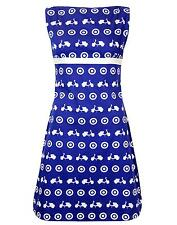 NEW RETRO SIXTIES INDIE 60s 70s MOD DRESS Carnaby Vintage ACE SCOOTER BLUE MC150