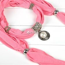 Necklace Scarves Flower Ring White Pearl Pendant Jewelry Scarf Shawl Wrap DZ88