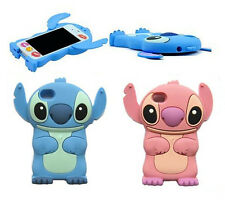 Pink Blue Lilo Stitch 3D Disney Silicone Back Case Cover Skin For iPhone 4S 4